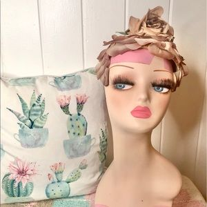 Vintage 1950's/1960's brown silk floral hat